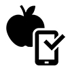 Piktogramm eines Apfels und eines Smartphones.