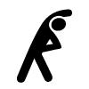 Piktogramm einer Person beim Stretching.