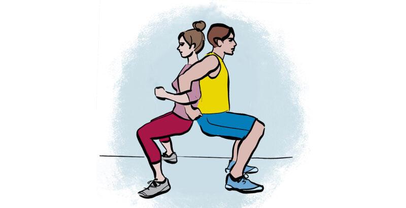 Illustration von Vater und Mutter, Rücken an Rücken in einer Kniebeuge.